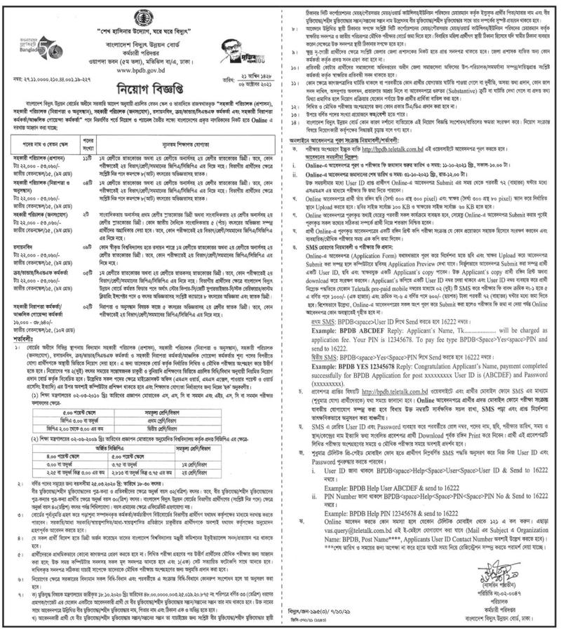 Power Development Board (PDB) Job Circular 2021