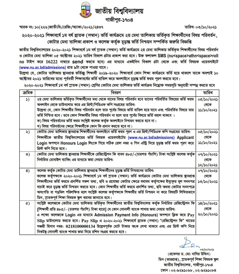 NU Honours Admission 2nd Merit List Migration and Quota Result 2020-21