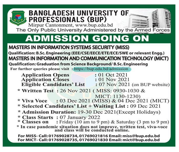 BUP Masters in Information and Communication Admission Circular 2021