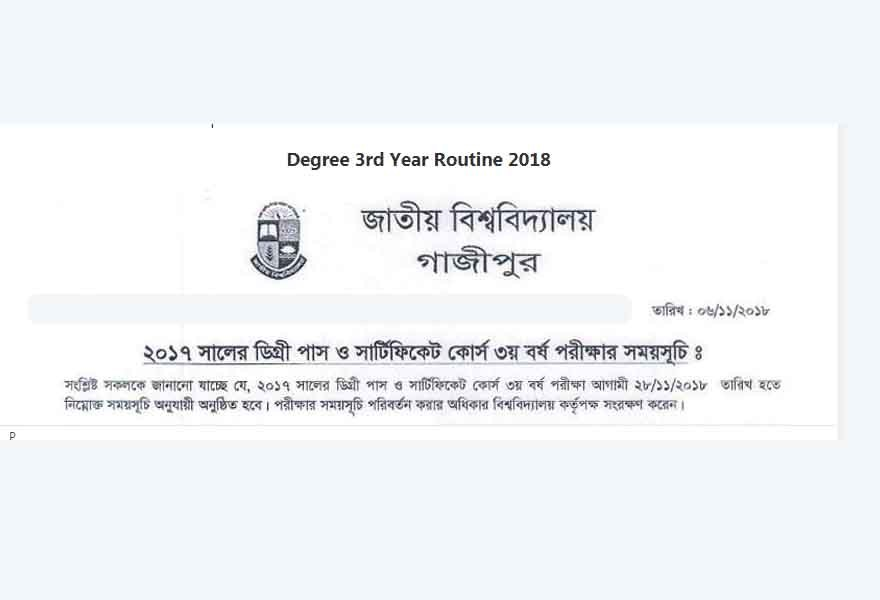 degree 3rd year routine 2018
