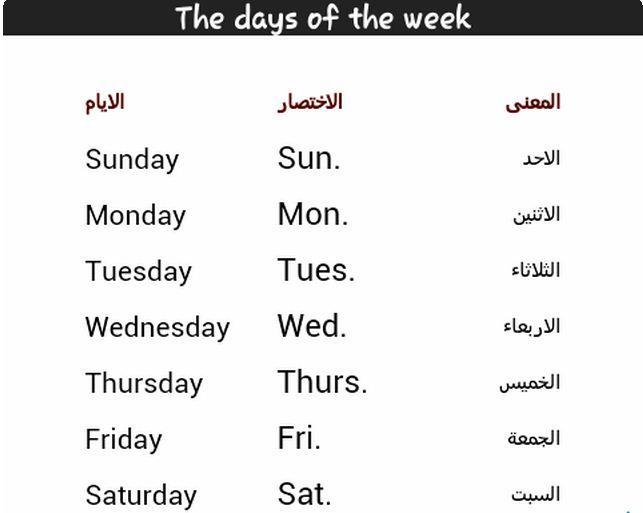 أيام الأسبوع بالإنجليزي مترجمة وطريقة حفظها مناهج عربية