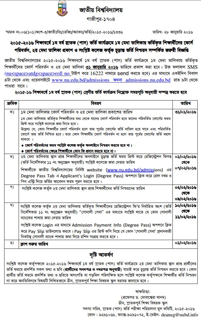National University NU Degree 2nd Merit List Result 2015-16 nu.edu.bd