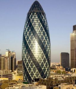 ST. MARY AXE in London, UK is regarded as one of the most beautiful buildings.