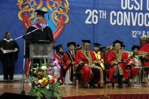 Raden Muhammad Fajjar from Indonesia, giving his Valedictorian speech at UCSI University's recent convocation