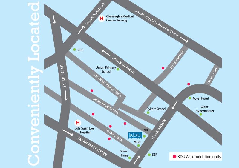 KDU Penang Accommodation Map