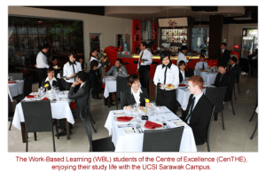 Work-based Diploma in Hotel Management students at the Mock Restaurant at UCSI University Sarawak