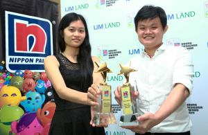 Lim Yong An (right), Gold Winner of the Nippon Young Paint Designers Award 2014 in the Interior Design Category