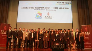 UCSI's engineering students inducted into honour society Installation of first IEEE-HKN student chapter in Malaysia. GROUP PORTRAIT (Front row): Mu Alpha chapter president Chan Kok Wai (second from left); UCSI Group founder and chairman Dato' Peter Ng (fifth from left);