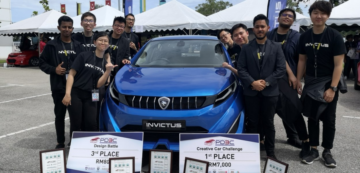 Asia Pacific University (APU) Students, champions of the Proton DRB-Hicom Creative Car Challenge (PD3C) 2018, with their concept car Invictus