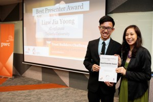 From left: Taylor's University Student, Marcus Liaw from Team Confianza, Best Presenter, and Miss Stephanie Ping, Co-Founder & CEO of WORQ.