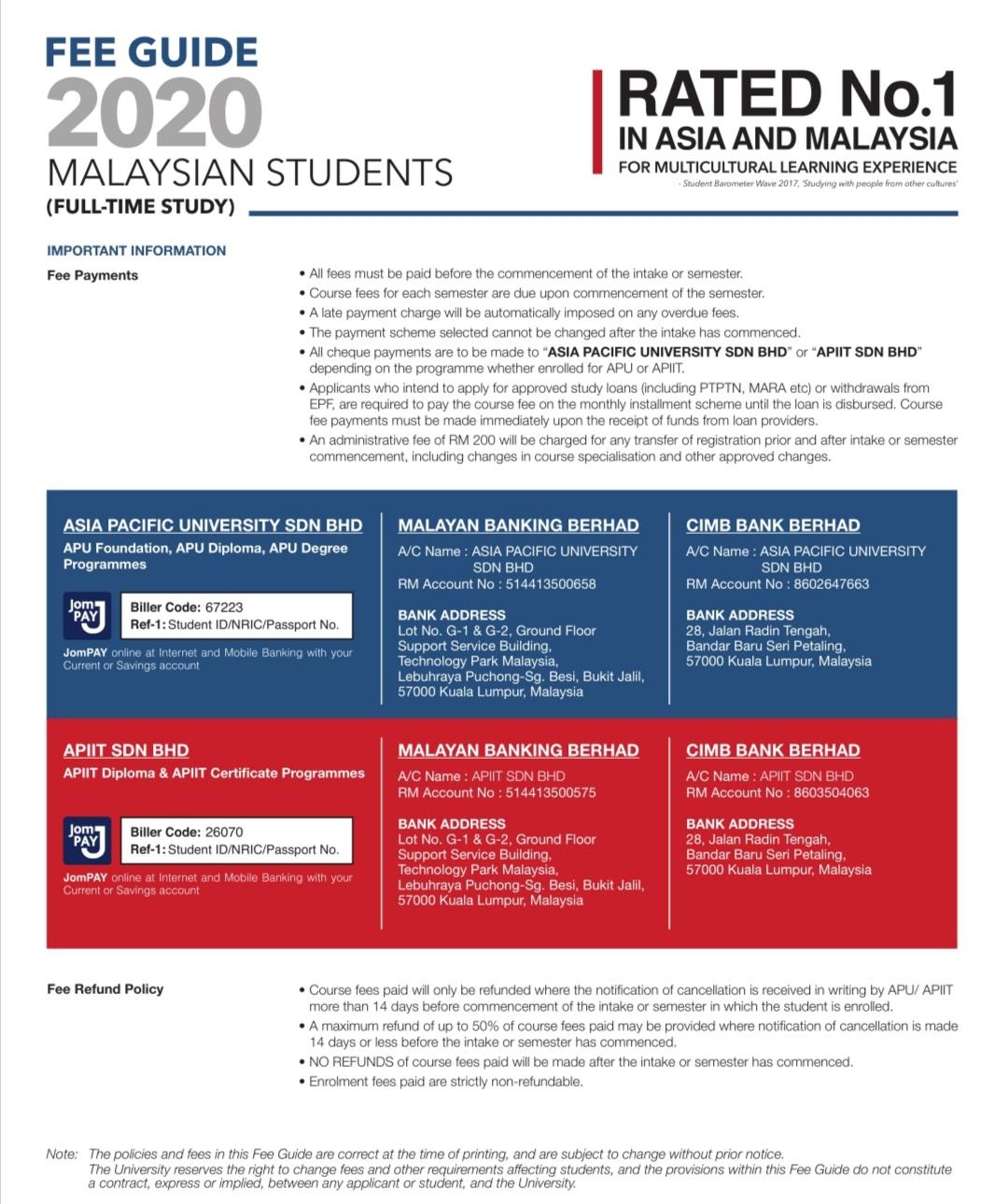 Asia Pacific University (APU) Bank Account Details