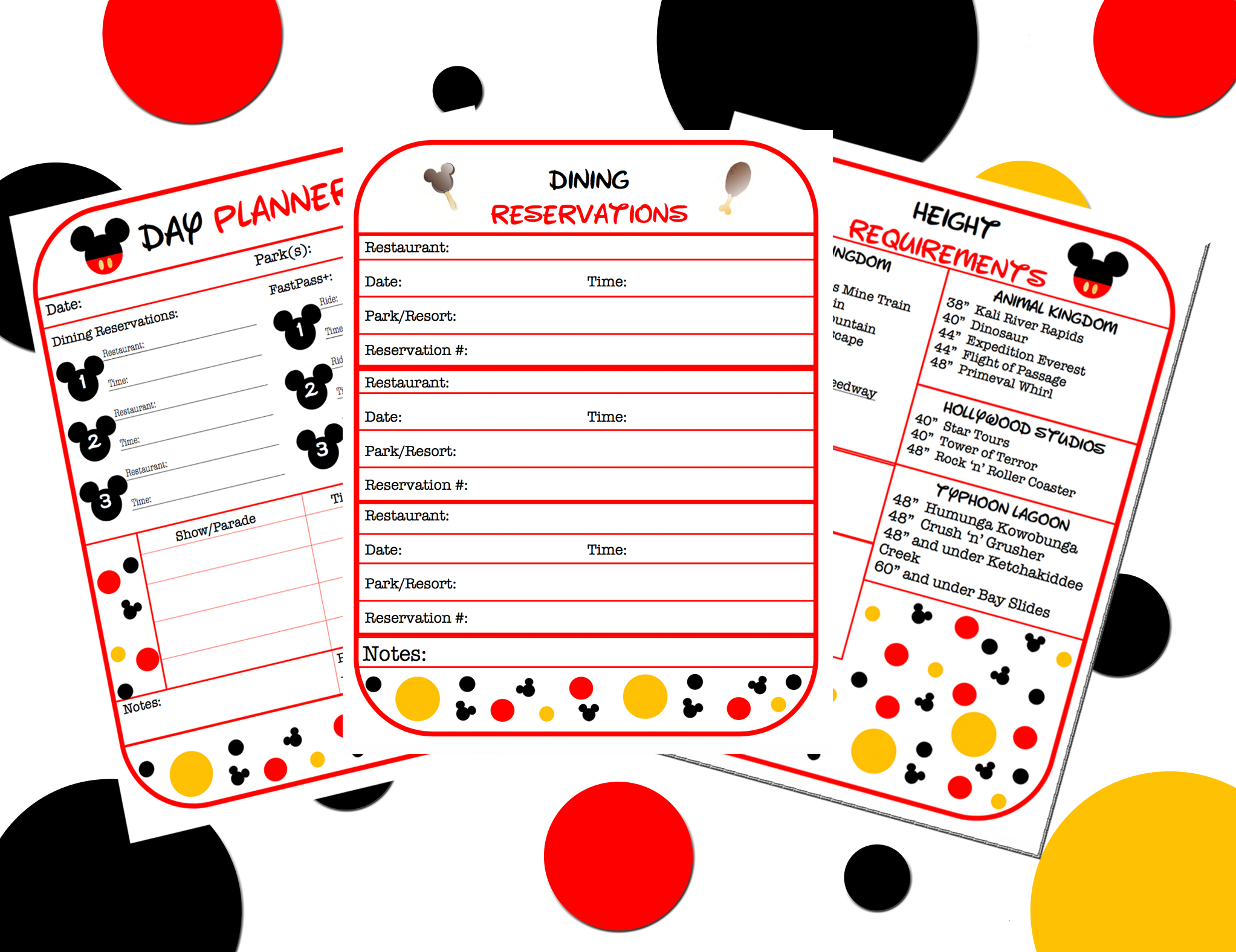Free Disney World Planner Printables