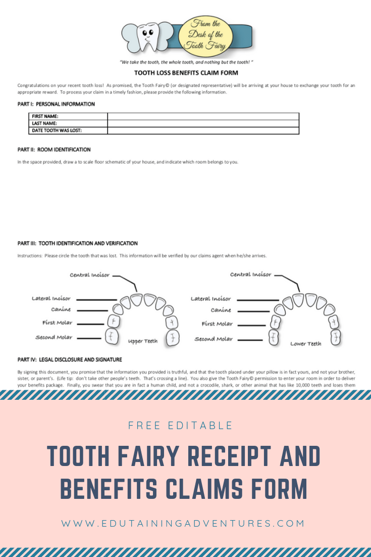 image relating to Printable Tooth Fairy Receipt named Cost-free Printable Teeth Fairy Receipt - Edutaining Adventures