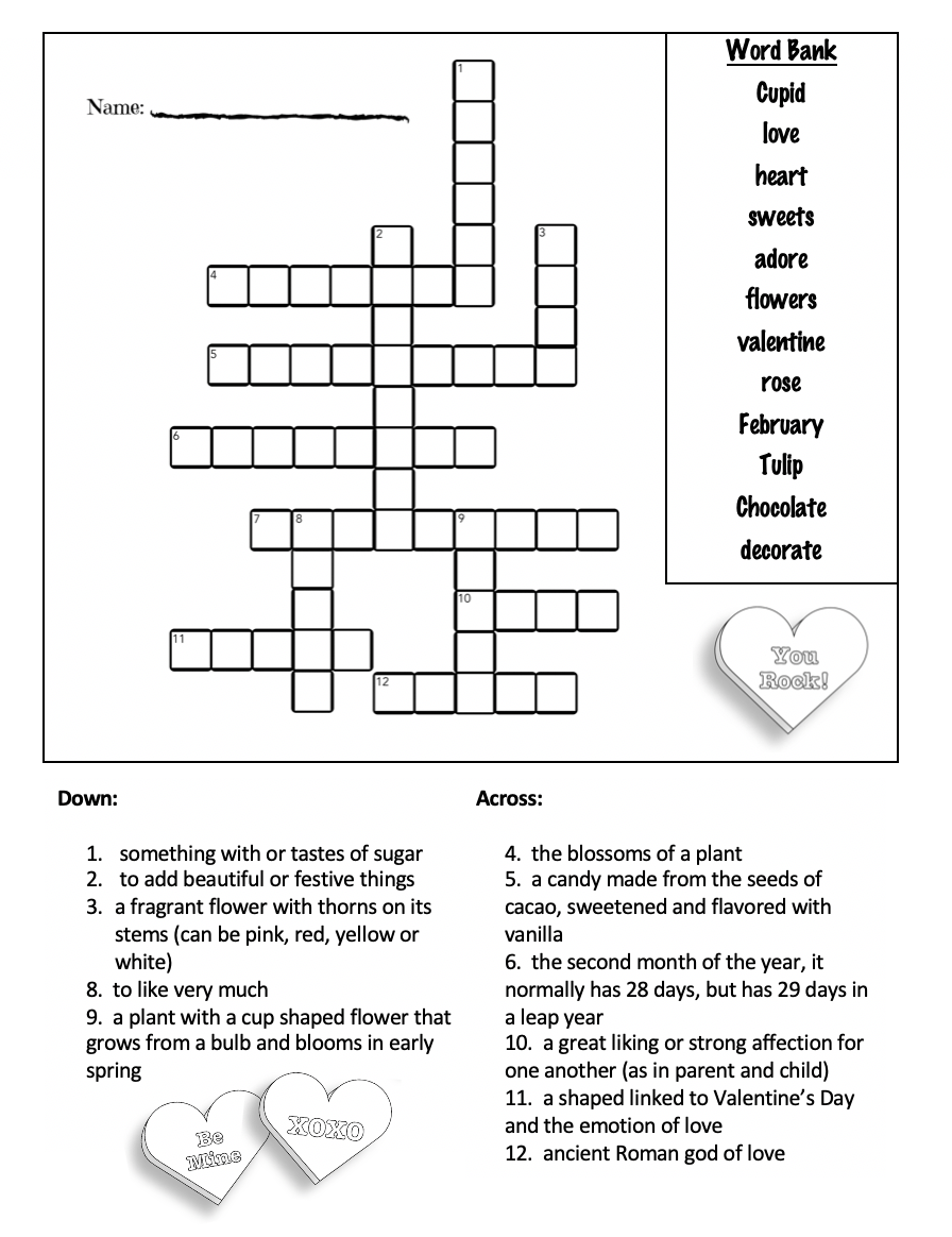 graphic regarding Valentine's Day Crossword Puzzle Printable known as No cost Valentines Working day Worksheets and Printables - Edutaining