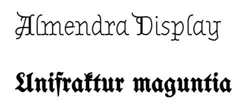 Classical fonts used in big heading newspaper tittle