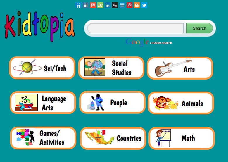 Kids safe Search Engine Kidtopia