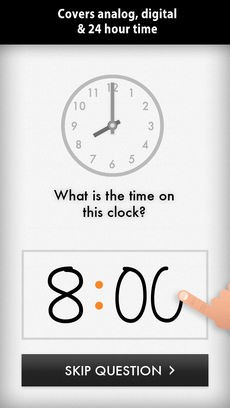 Quick Clocks app to teach children learn to tell time