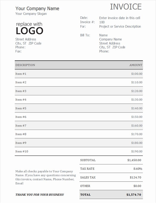 Excel Invoice Template with sales tax