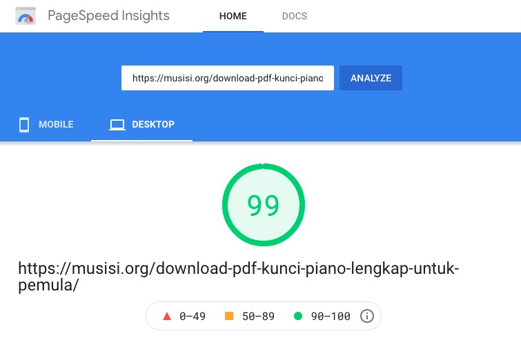GeneratePress page speed with google ads and flying script desktop