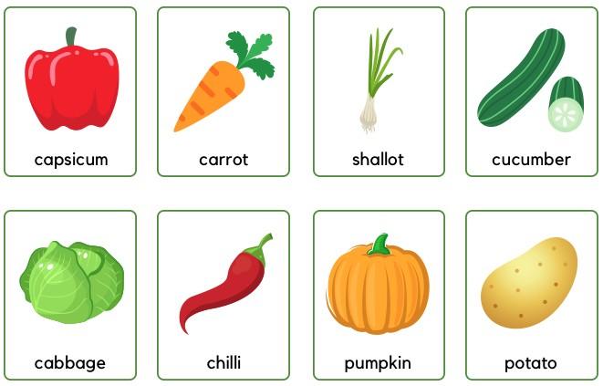 vegetables flashcards for kindergarten
