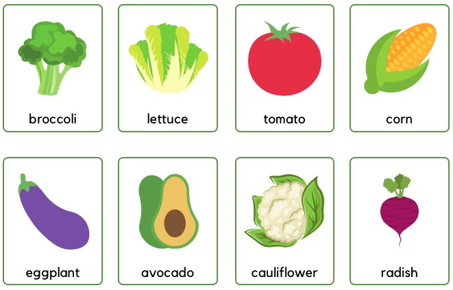 vegetables flashcards printable