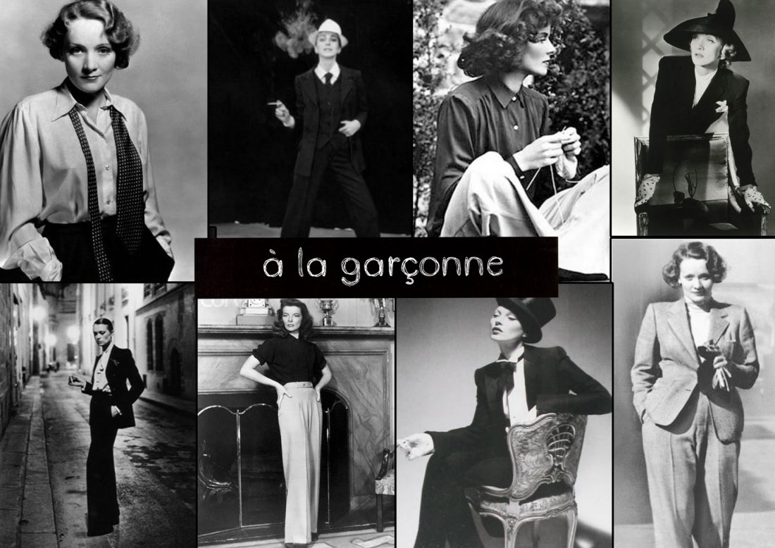 women dressed in la garçonne (tomboy) look from the 1920s to the present
