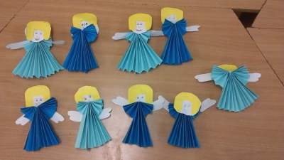 Aniołki z harmonijki Dzień Anioła Izabela Kowalska Postacie Prace plastyczne
