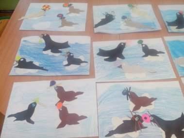 Foki na krze Izabela Kowalska Kreatywnie z dzieckiem Prace plastyczne (Dzień Zwierząt) Światowy Dzień Zwierząt Zima Zwierzęta