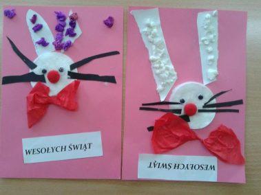 Kartka świąteczna - Zajączek Marlena Wrońska Prace plastyczne Prace plastyczne (Wielkanoc) Święta Wielkanoc (Prace plastyczne) Zima (Prace plastyczne)