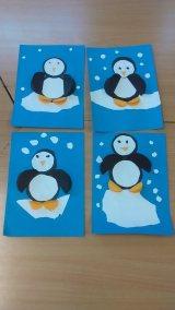 Pingwinki w mroźnej krainie z kółek Dzień Wiedzy o Pingwinach Izabela Kowalska Nauka kształtów Prace plastyczne Prace plastyczne (Dzień wiedzy o pingwinach) Zima (Prace plastyczne) Zwierzęta (Prace plastyczne)