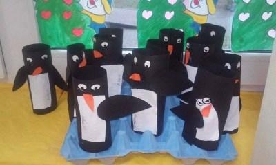 Pingwiny z bloku technicznego Dzień Wiedzy o Pingwinach Monika Okoń Prace plastyczne Prace plastyczne (Dzień wiedzy o pingwinach) Zima (Prace plastyczne) Zwierzęta (Prace plastyczne)
