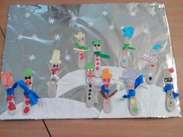 W bałwankowie (z patyczków do lodów) Izabela Kowalska Kreatywnie z dzieckiem Zima