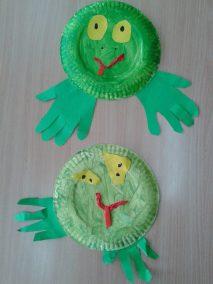 Żabki z papierowych talerzyków Dzień Wody Jesień Lato Marlena Wrońska Prace plastyczne Prace plastyczne (Dzień Wody) Prace plastyczne (Jesień) Prace plastyczne (Lato) Wiosna (Prace plastyczne) Zwierzęta (Prace plastyczne)