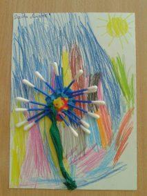 Kwiatek z patyczków do uszu Jesień Jesień (Prace plastyczne) Lato Marlena Wrońska Prace plastyczne Prace plastyczne (Jesień) Prace plastyczne (Lato) Rośliny (Prace plastyczne) Wiosna (Prace plastyczne)