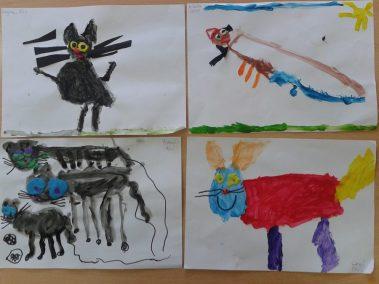 Piesek malowany farbkami Dzień Kundelka Kreatywnie z dzieckiem Marlena Wrońska Prace plastyczne Światowy Dzień Zwierząt Zwierzęta