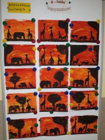 Krajobraz z wykorzystaniem farb Kreatywnie z dzieckiem Małgorzata Wojkowska Prace plastyczne Światowy Dzień Zwierząt Zwierzęta