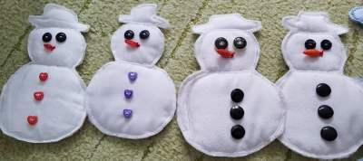 Bałwanki i chmury z watoliny Dominika Kobylak Kreatywnie z dzieckiem Zima Zima