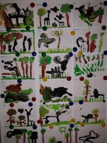 Las Jurajski - malowanie wyobrażeń farbami Dzień Dinozaura Kreatywnie z dzieckiem Małgorzata Wojkowska