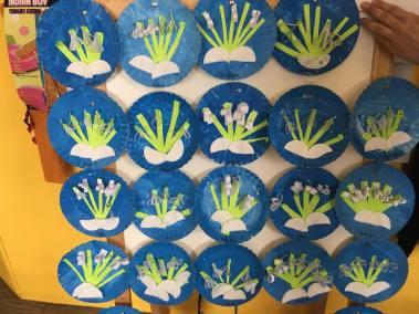 Przebiśniegi na papierowych talerzykach Patrycja Sulej Pomoce dydaktyczne Wiosna (Prace plastyczne)
