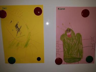 Ufoludek rysowany przez dzieci na podstawie rymowanki Dzień Kosmosu Dzień Lotnictwa i Kosmonautyki Kreatywnie z dzieckiem Małgorzata Wojkowska