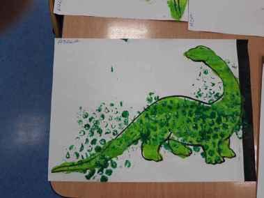 Zielony dinozaur Dzień Dinozaura Kreatywnie z dzieckiem Małgorzata Wojkowska
