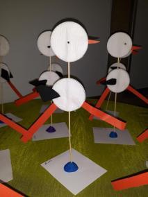 Bocian z płatków kosmetycznych Małgorzata Wojkowska Międzynarodowy Dzień Ptaków Prace plastyczne Prace plastyczne (Na wsi) Wiosna (Prace plastyczne)