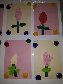 Hiacynt z paseczków samodzielnie wycinanych Kreatywnie z dzieckiem Małgorzata Wojkowska Prace plastyczne