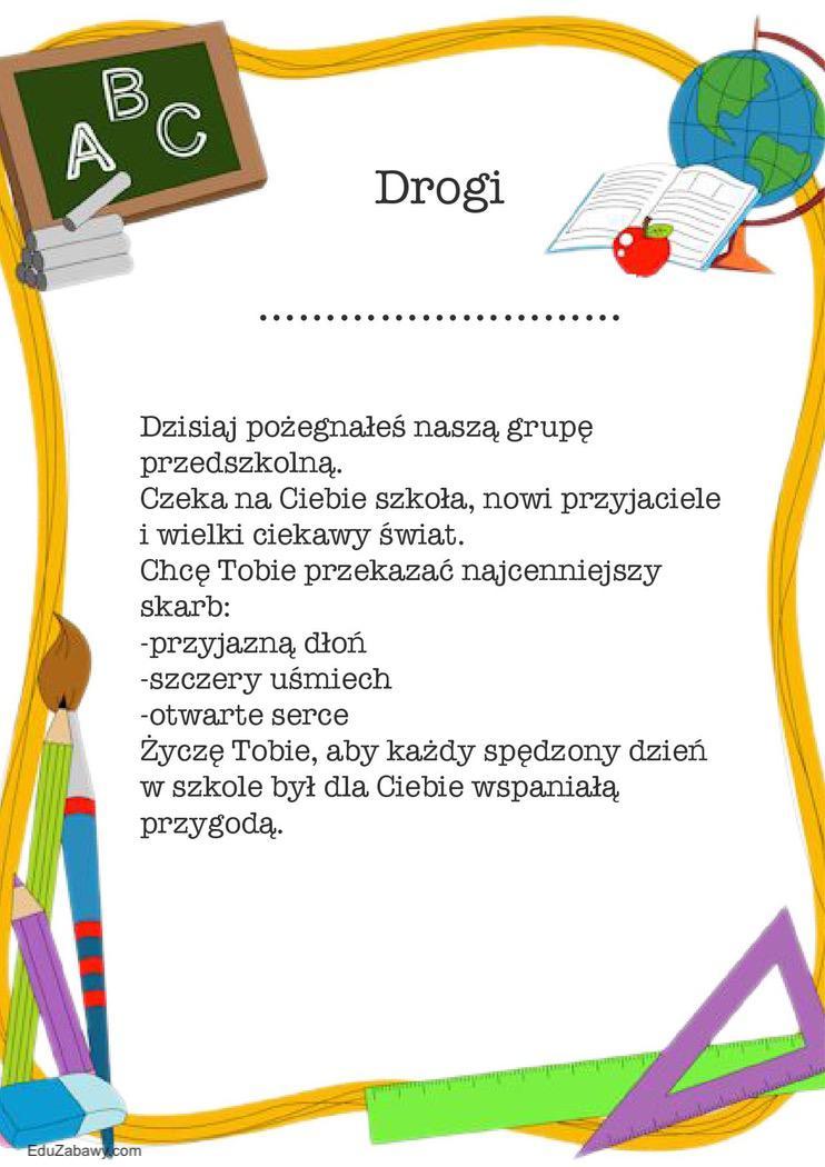 Wkładki i dedykacje na zakończenie roku dla przedszkolaków Okolicznościowe Wkładki i dedykacje