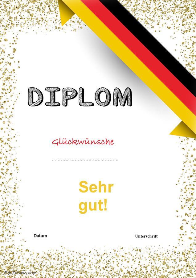 Dyplom za osiągnięcia z języka niemieckiego Dyplomy Okolicznościowe Za osiągnięcia językowe