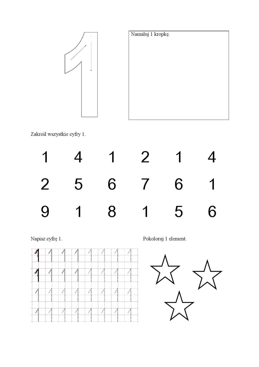 Cyfry - karty pracy Anna Czerwiec Dzień Matematyki Matematyka Pomoce dydaktyczne Zabawy matematyczne (Dzień Matematyki)