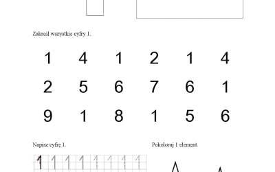 Cyfry – karty pracy