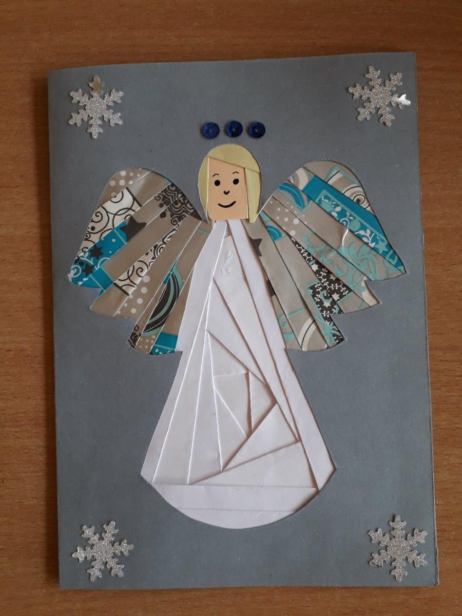 Kartka z aniołkiem Alicja Mazur Boże Narodzenie Kreatywnie z dzieckiem