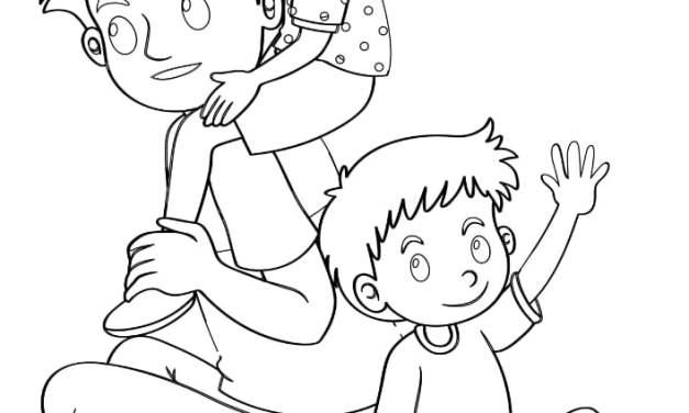 Kolorowanki tata z córką i synem (6 szablonów)