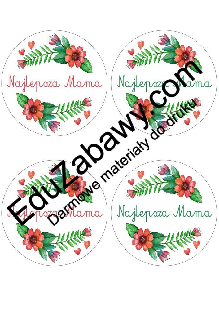 Kwieciste odznaki na Dzień Mamy (4 szablony) Dzień Mamy Odznaki (Dzień Rodziny) Odznaki na Dzień Mamy